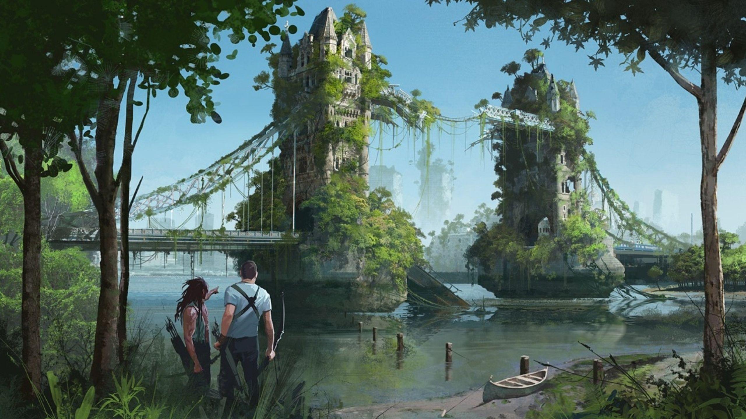 England postapocalyptic london fantasy art united kingdom - Fantasy wallpaper bridge ...