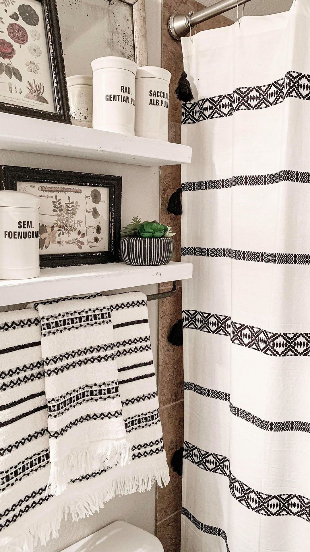 Better Homes And Gardens Black And White Shower Curtain