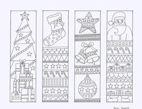 Christmas Coloring Bookmarks Instant Pdf Download Bookmarks To Color Digital Download Hand Dr Coloring Bookmarks Christmas Colors Christmas Bookmarks