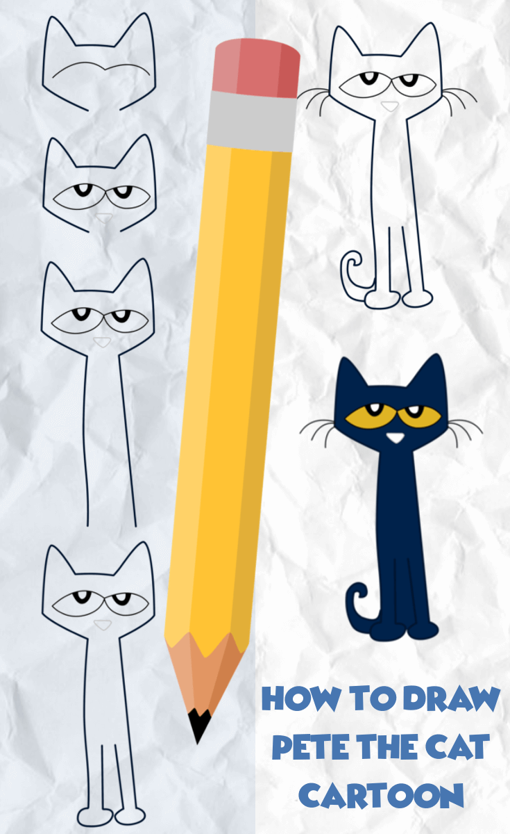 How To Draw Pete The Cat Directed Drawing Pete The Cat Art Pete The Cat Drawing For Kids