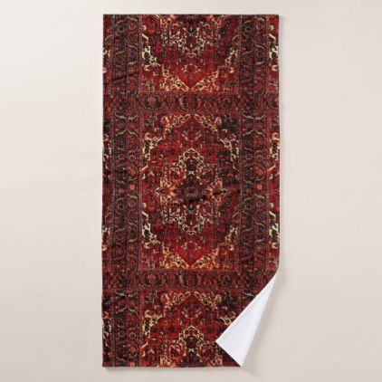 Oriental Rug Design In Dark Red Bath Towel Set Gifts Color Style Cyo Diy Personalize Unique
