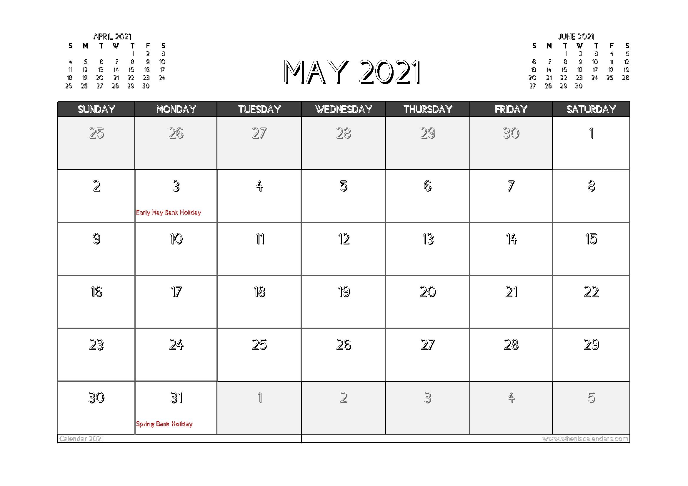 May 2021 Calendar Uk Printable In 2020 Calendar Uk 2021 Calendar Printable Calendar Template