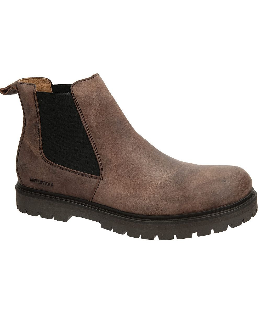93d1b2f4f Men's Birkenstock Stalon Boot. Brown Mocha Nubuck Leather. Chelsea Boot  with pull tab on