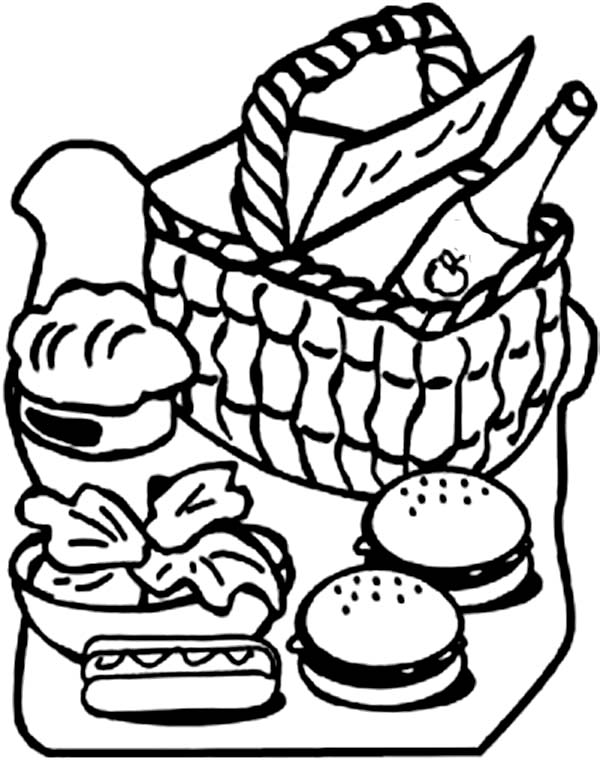 Picnic Basket Full Of Food Coloring Page Netart Food Coloring Pages Coloring Pages Art Journal Cover