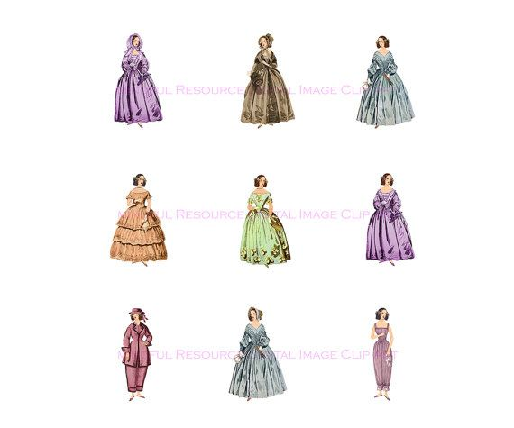 Victorian Fashion Printable Clip Art Gowned by mindfulresource
