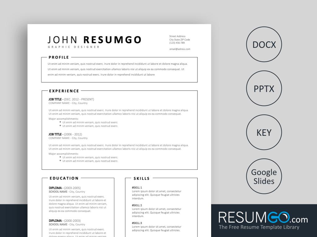 MILTIADES Free Simple Resume Template with Framed Parts