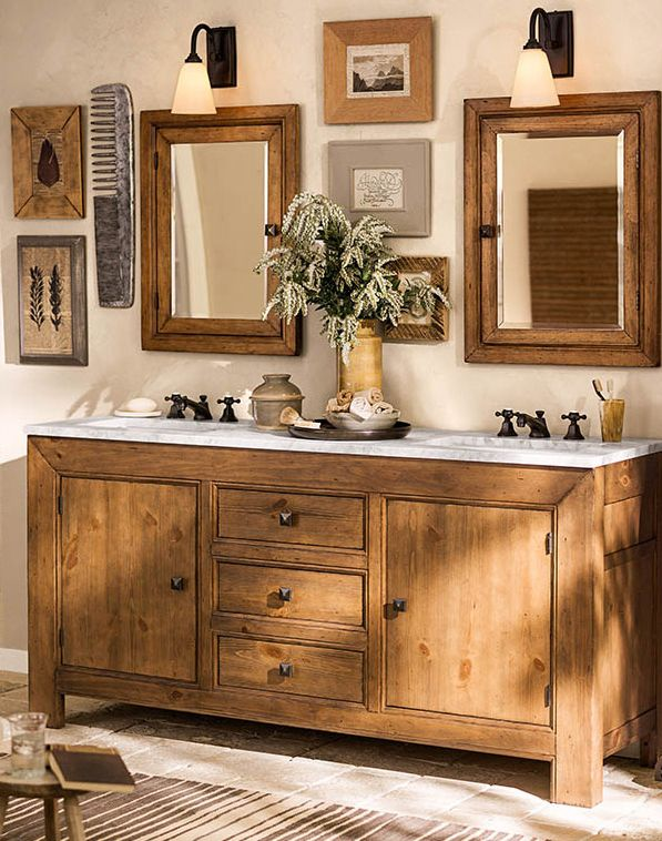 A Bathroom That S Rustic Chic And Features Our Stella Bath Collection Potterybarn