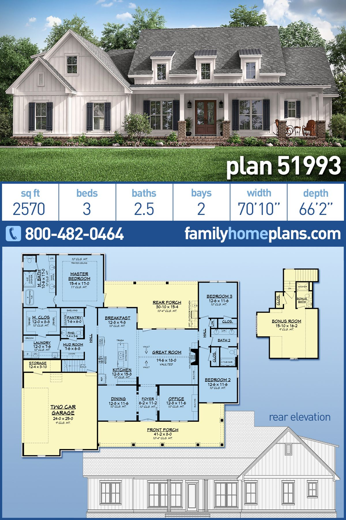 Traditional Style House Plan 51993 With 3 Bed 3 Bath 2 Car Garage French Country House Plans Family House Plans New House Plans
