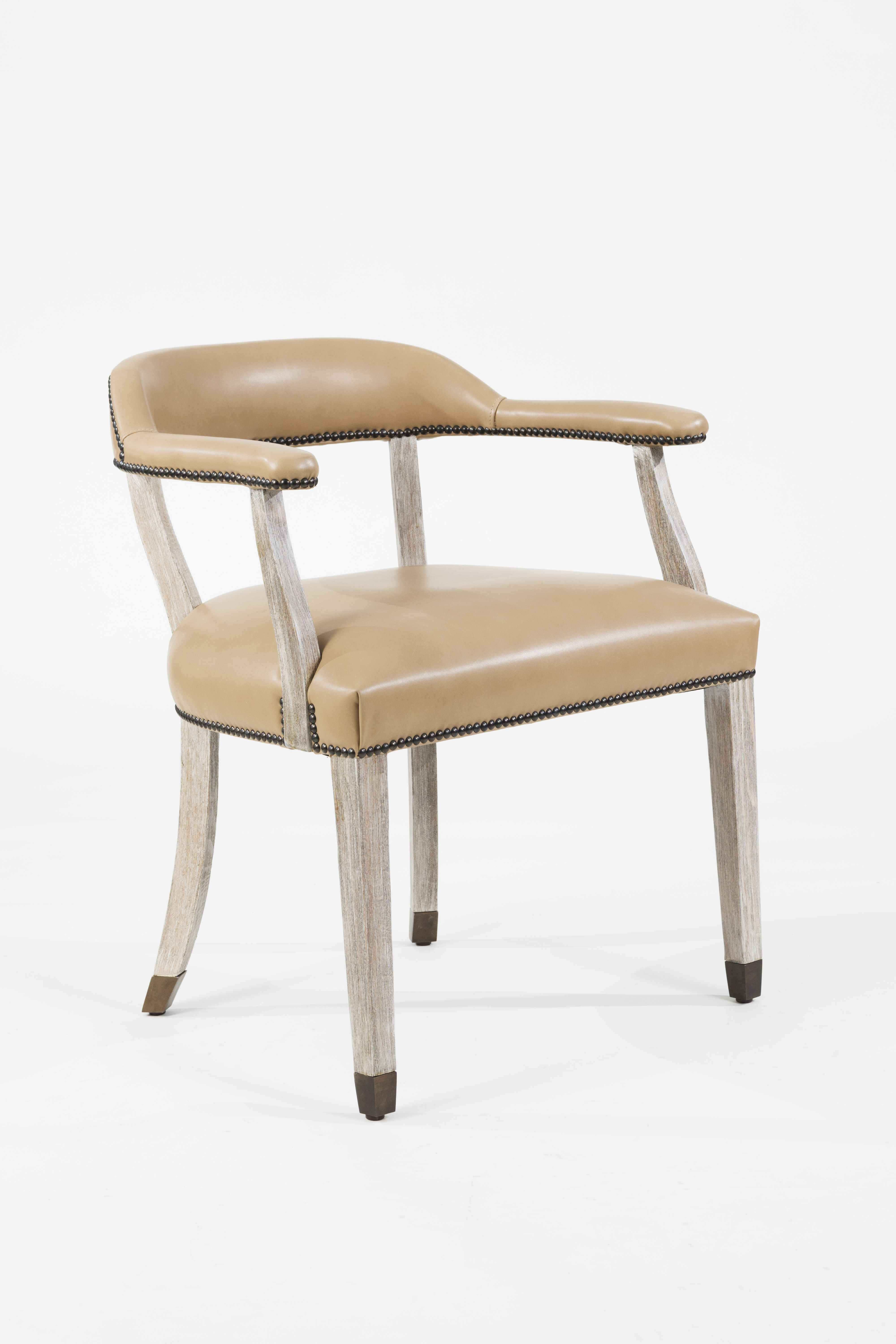 Custom Upholstered Dining Chair With Antique Brass Foot Caps And Nailhead  Trim On Arms, Back