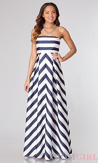 Floor Length Striped Dress by Jessica Simpson at PromGirl.com | 2014 ...