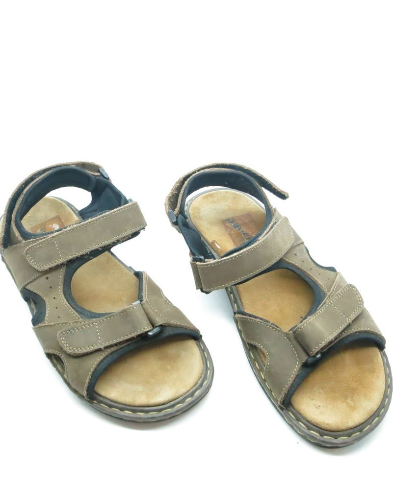 Mens Pavers Sports Brown Leather Velcro