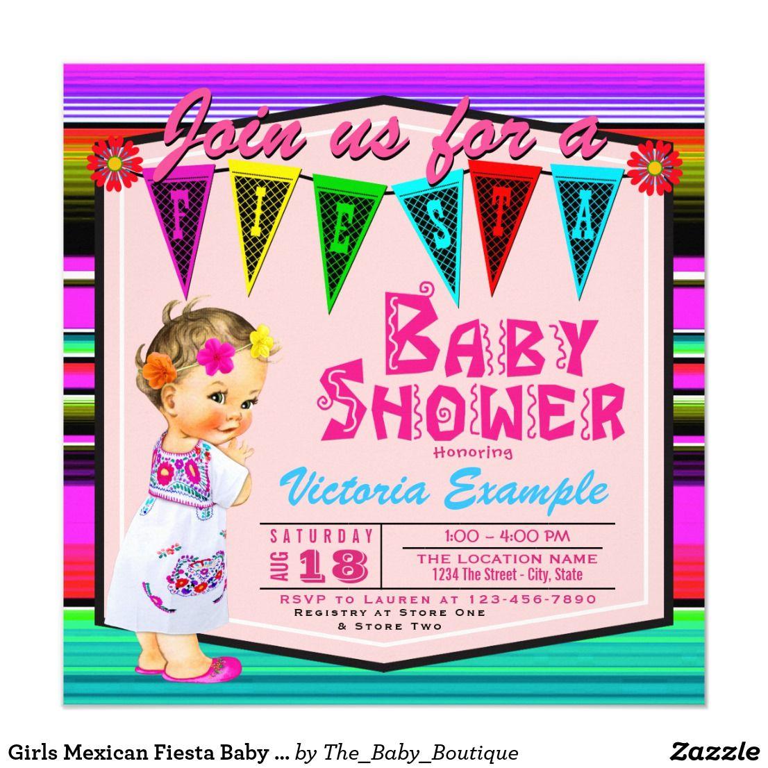 Girls Mexican Fiesta Baby Girl Shower Invitations | Mexican fiesta ...