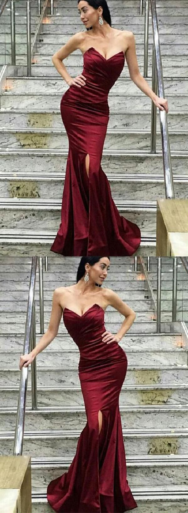 Soft burgundy bridesmaid dress sexy prom dresses mermaid prom