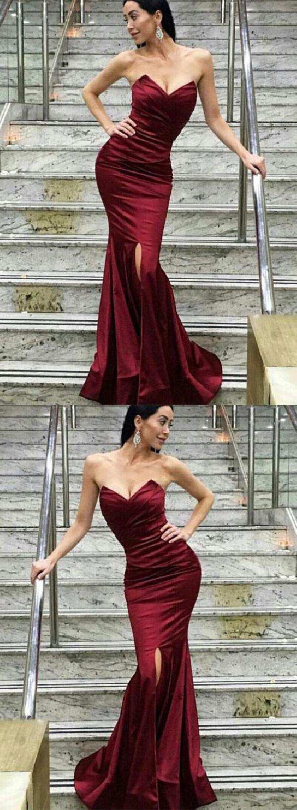 Soft burgundy bridesmaid dress sexy prom dresses mermaid prom