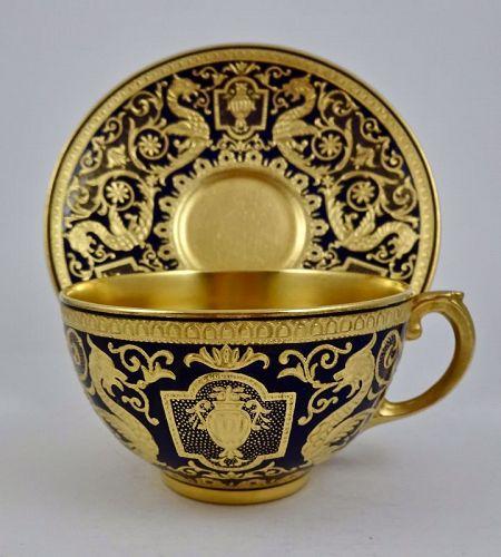 Antique Coalport Tea Cup & Saucer, Cobalt & Gold #teacups