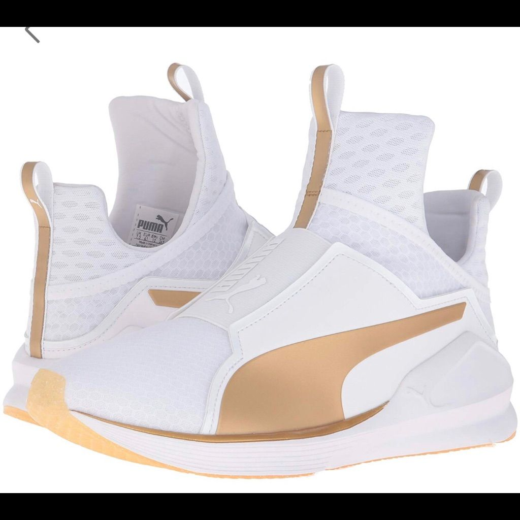 Puma Shoes | Puma Womans White Gold Sneakers | Color: Gold