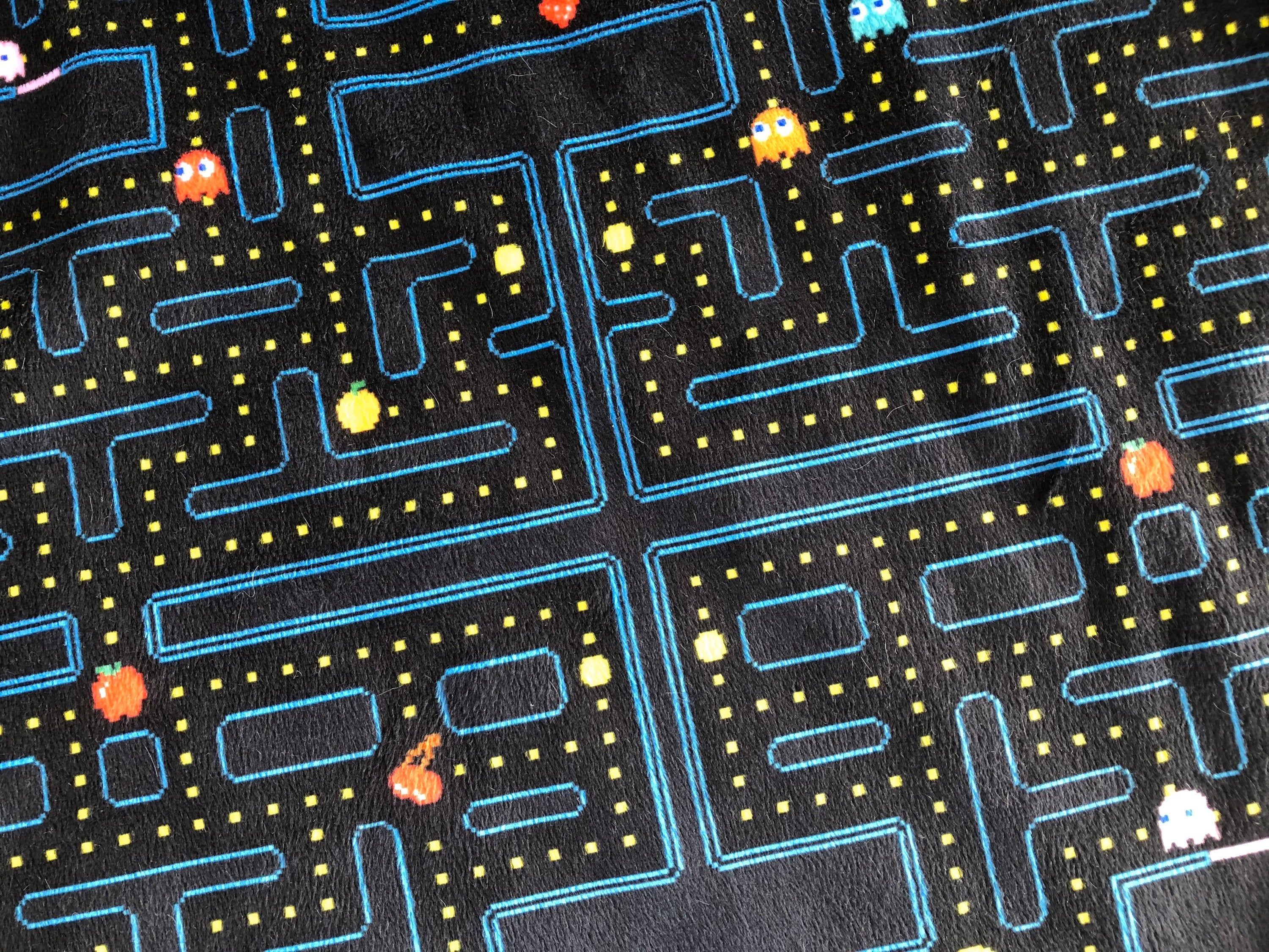 PACMAN map minky blanket - retro video game throw blanket - for baby, child, teen, adult - toddler lovey (security blanket)