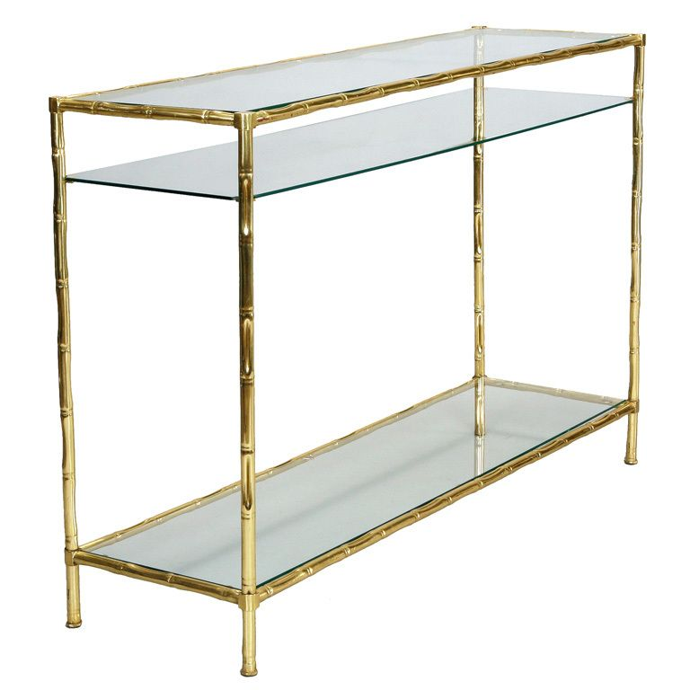 Italian Faux Bamboo Brass and Glass Console Table Faux bamboo