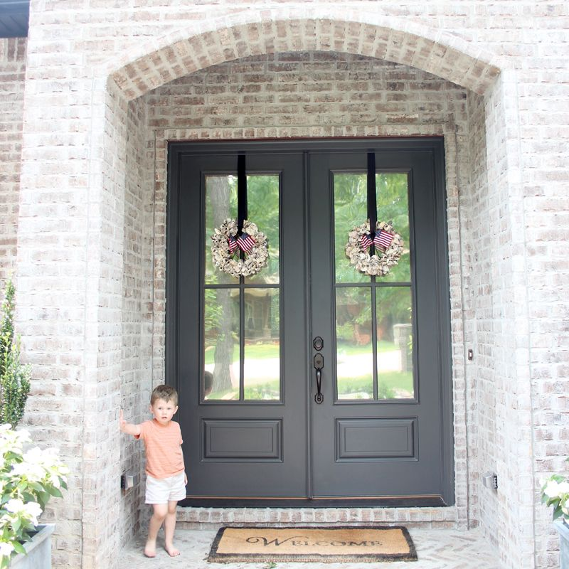 Wrought iron favorite paint colors benjamin moore Front door color ideas for brick house