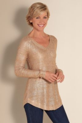 Shimmer Sweater I - Sequin Sweater, Metallic Sweater, V Neck Sweater | Soft Surroundings