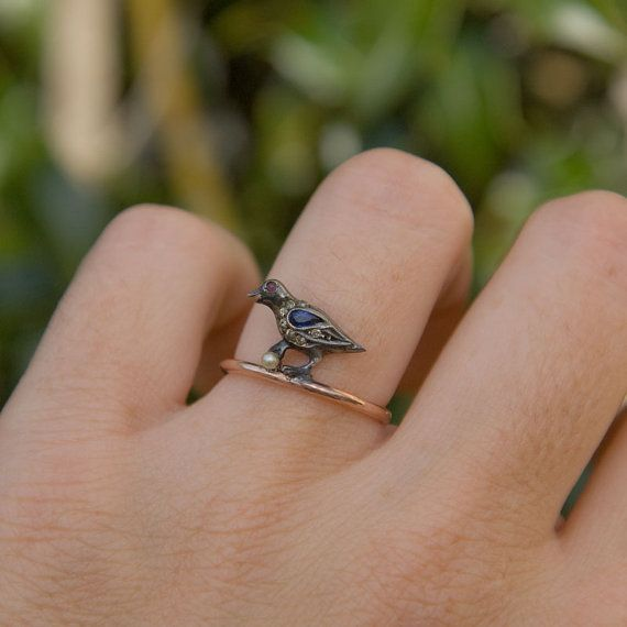 Antique Bird Ring Silver and 10k Rose Gold by TrademarkAntiques