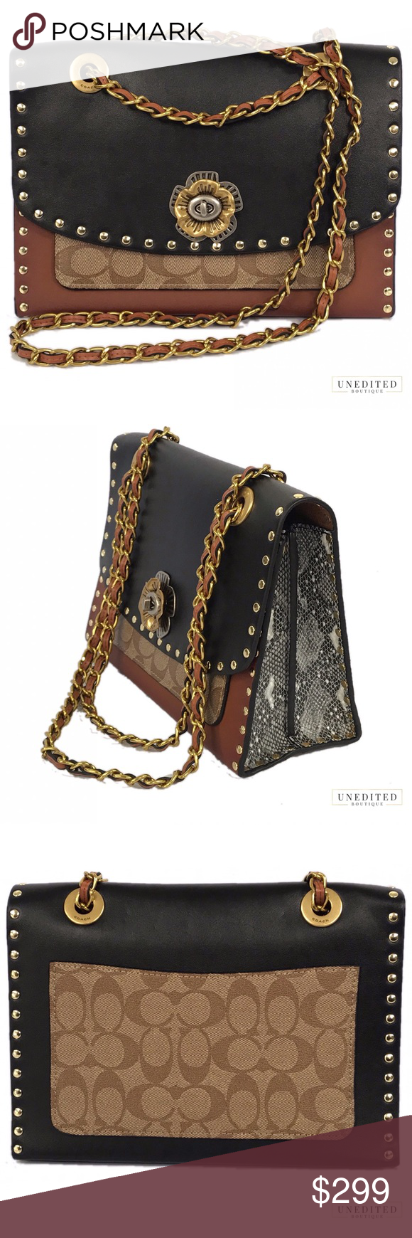 2f20919a9e74b Coach Parker With Rivets And Snakeskin Detail Refined calf leather ...