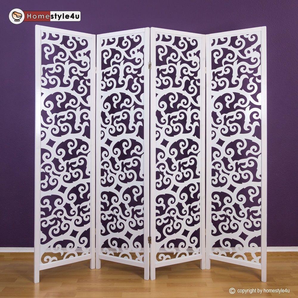 Perfect 4 Fach Paravent Raumteiler Holz Trennwand Spanische Wand Sichtschutz Weiß