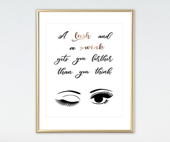14d19b9974a Rose Gold Salon Decor Eyelashes Print Lashes Studio Lashes Print Funny  Eyelashes Quote Makeup Decor
