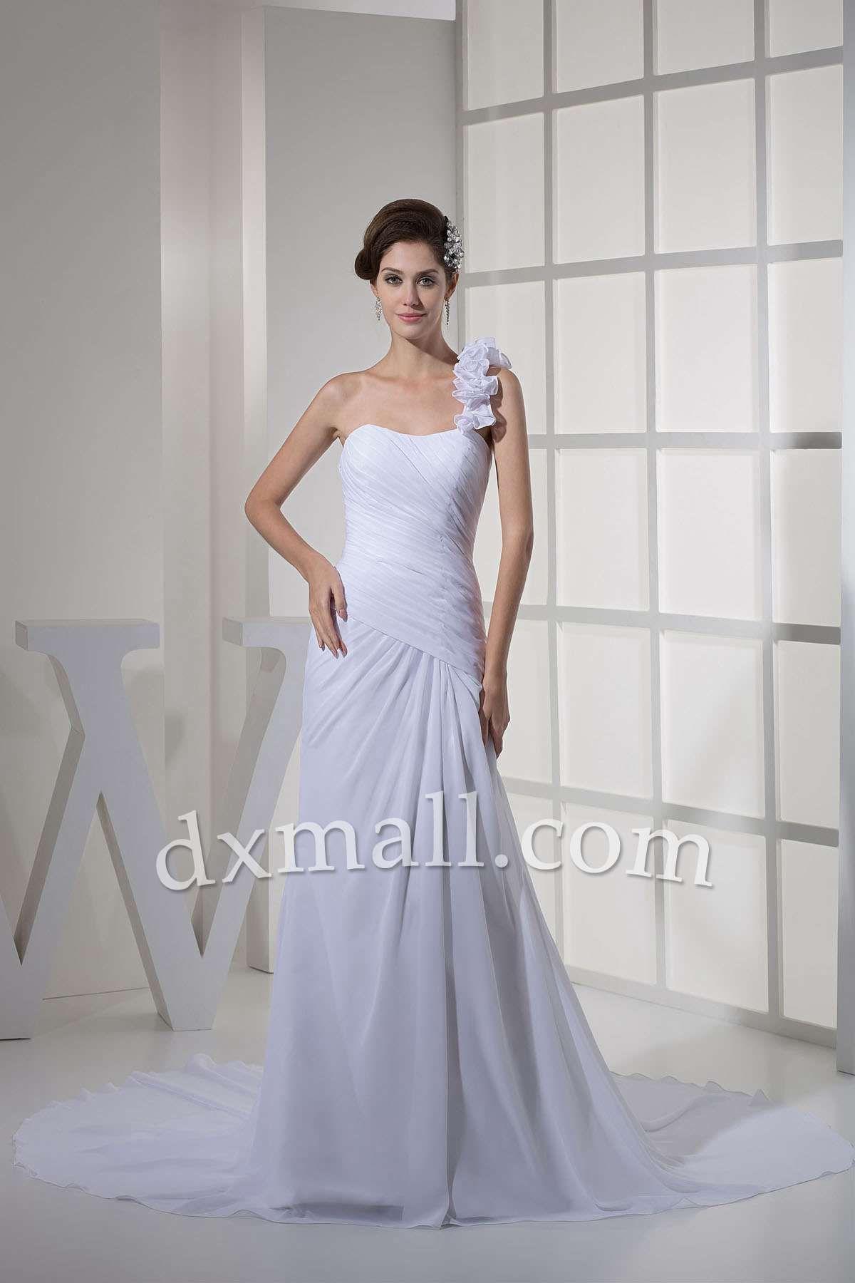 Simple and cheap wedding dresses  Drop Waist Wedding Dresses One Shoulder Court Train Chiffon Satin