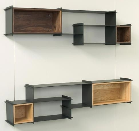 Decorating Cool Unique Shelving Units With Contemporary Wall