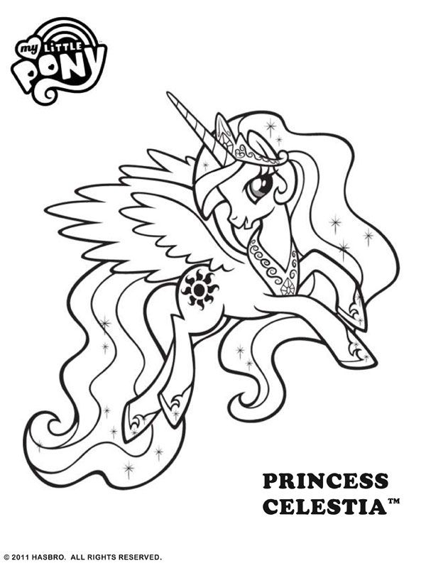 Free Online My Little Pony Princess Celestia Colouring Page My Little Pony Coloring Unicorn Coloring Pages Horse Coloring Pages