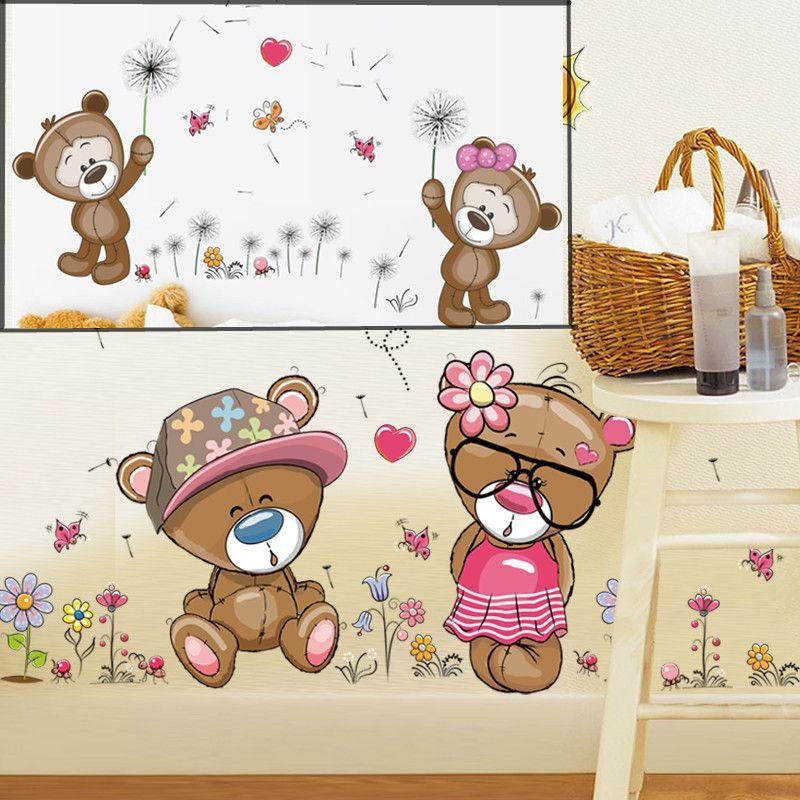 Cartoon Cute Teddy Bear Wall Sticker Home Decoration Wall Decals