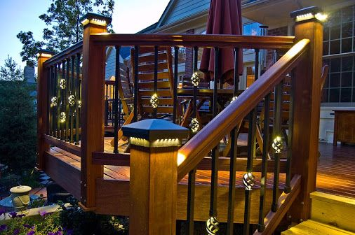 beautiful deck ideas with nice landscape lighting and railing Home