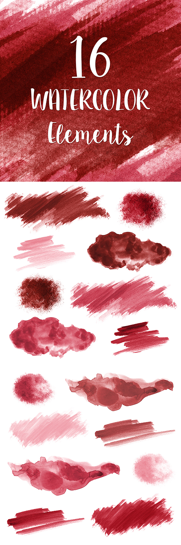 16 Red Watercolor Splotches Splatters Brush Strokes Red Etsy Watercolor Design Watercolor Splash Green Watercolor