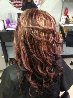 Red And Blonde Highlights In Brown Hair Google Search Purple