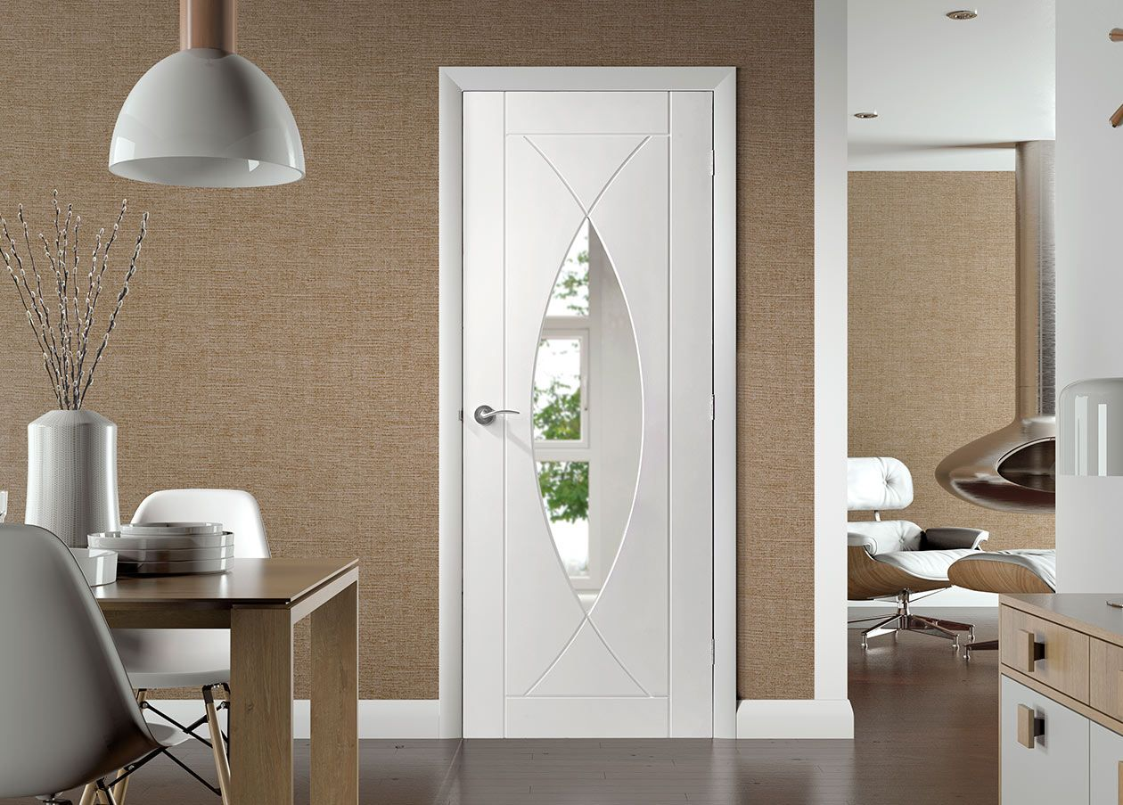 Pesaro white primed flush door with clear safety glass safety the pesaro white primed solid core door has a very attractive curved symmetrical design that has single toughened safety glass inserts planetlyrics Gallery