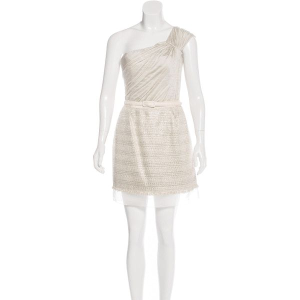 Pre-owned Giambattista Valli Silk Tweed Dress ($295) ❤ liked on Polyvore featuring dresses, grey, grey cocktail dress, silk cocktail dress, bustier dress, gray dress and one sleeve dress
