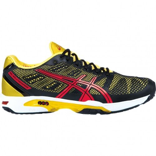 aquí Bigote patata  Asics GEL-Solution Speed 2 Mens Tennis Shoes E400Y.9023 Black-Red-Yellow |  Asics, Shoes, Tennis