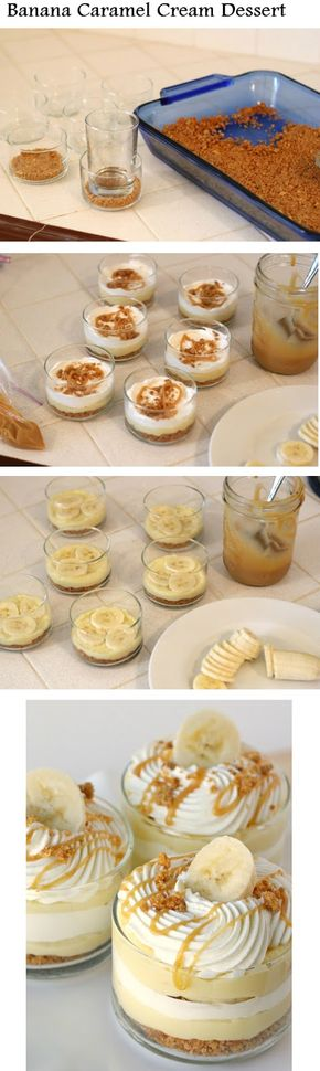 This looks amazing - Have to try this one! - Banana Caramel Cream Dessert.