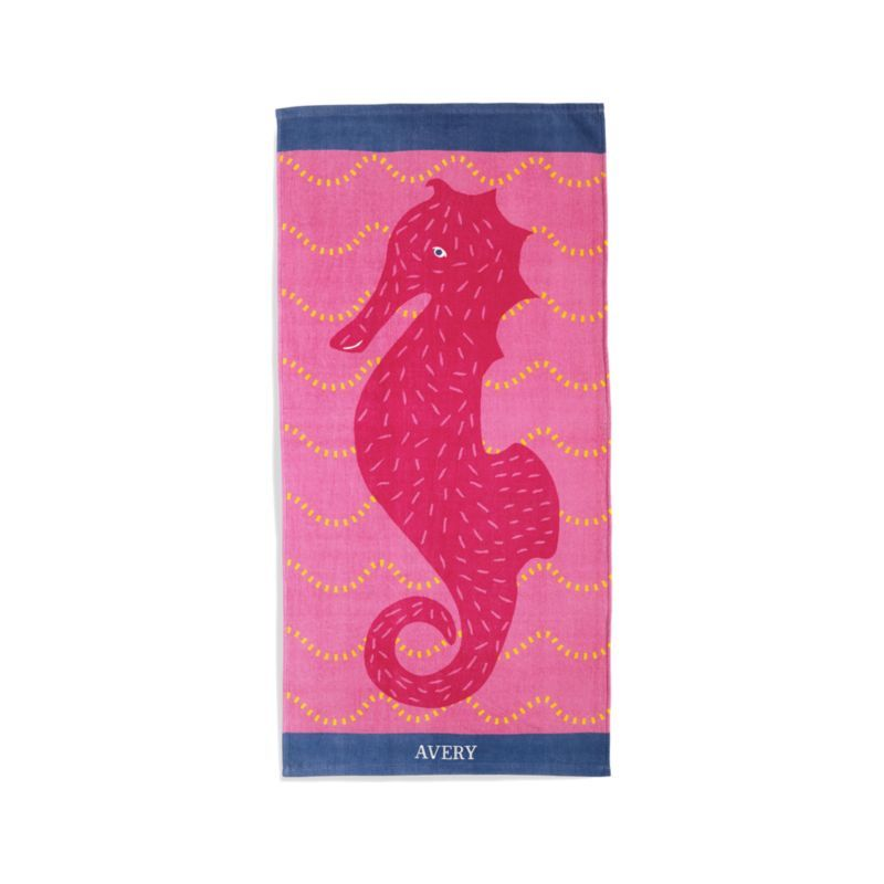 Pink Seahorse Beach Towel Kids Beach Towels Beach Towel Crate