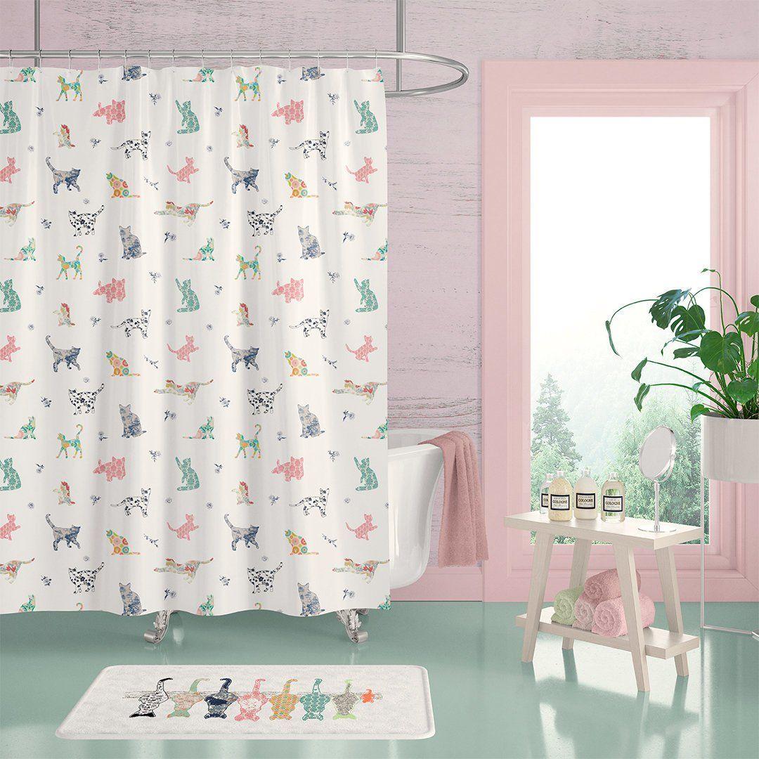 Cats Shower Curtain Shaby Chic Bathroom Decor Set With Bath Mat