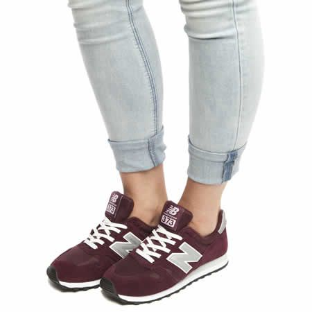 55 womens new balance burgundy 373 suede & mesh trainers