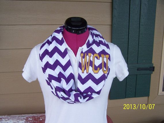 western carolina purple and white monogrammed chevron infinity scarf game day knit jersey on