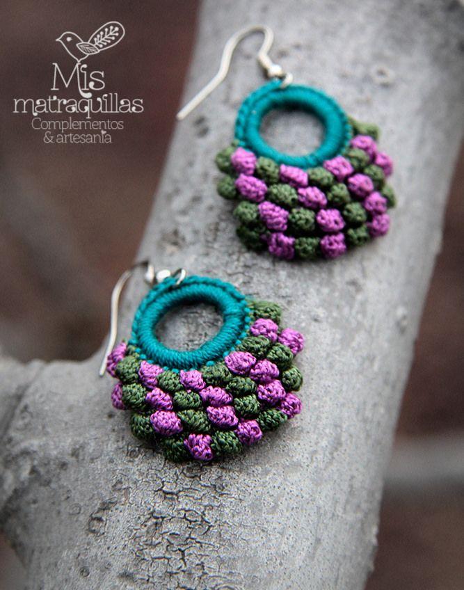 https://flic.kr/p/EUEBxV | Pendientes de Crochet | Pendientes realizados a crochet - Crochet earrings ganchilo pendientes artesania complementos matraquillas mismatraquillas earrings handmade jewelry