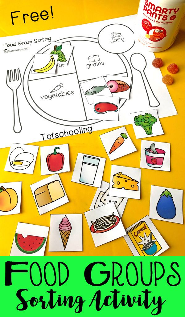 Free Sorting Activity For Preschool And Kindergarten To Learn About The Five Main Food Groups Teach Kids About Healthy Eating And Balanced Meals