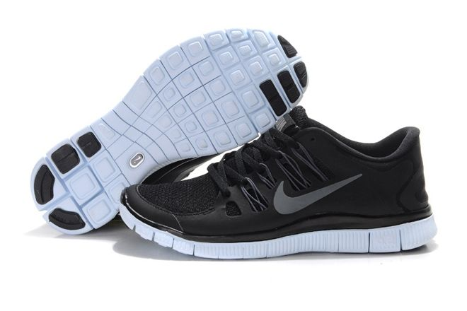 nike womens free 5.0+ running shoes black/silver