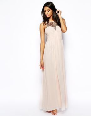 5b9560dd96 Image 1 of Little Mistress Maxi Dress with Ruching and Embellished Neck  Masquerade Dresses, Mauve