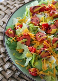 Hot Dog Salad With Honey Mustard Dressing Seriously. It's not as weird as it sounds. It's delicious!