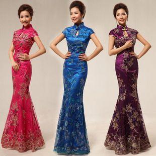 New arrival cheongsam fashion design bridal long cheongsam fish tail cheongsam lace $53.00