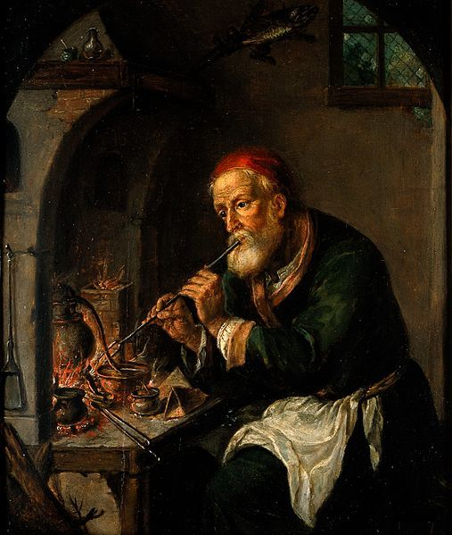 File:An alchemist blowing on a fire to heat a still (?). Oil pain Wellcome V0017690.jpg